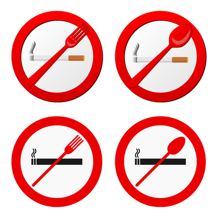 disallow: No smoking sign vector. 4 versions. All elements grouped and sorted in layers Illustration