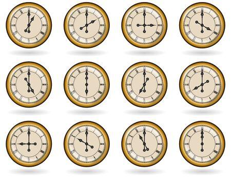 orologi antichi: Set di orologi antichi per le ore di lavoro Vettoriali