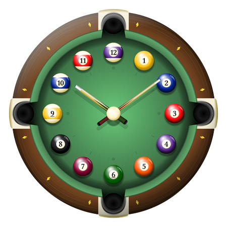 sorted: Pool table clock vector. All elements sorted and grouped in layers Illustration