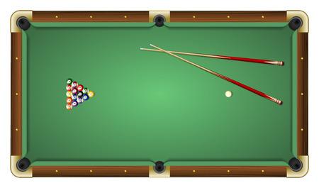 bola de billar: Ilustraci�n vectorial realista de una mesa de billar verde con bolas y tacos. Vista superior. Todos los elementos ordenados y agrupados en capas