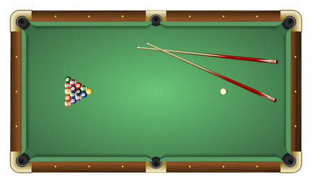 Realistic vector illustration of a green pool table with balls and cues. Top view. All elements sorted and grouped in layers Illustration