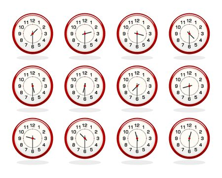 Set of red clocks for business hours isolated on white. Half past hours. Flat colors. All elements sorted and grouped in layers