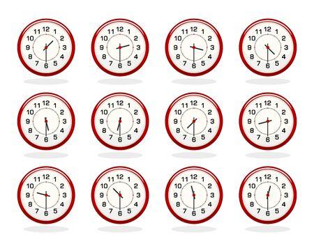 Set van rode klokken voor kantooruren op wit wordt geïsoleerd. Half uur. Vlakke kleuren. Alle elementen gesorteerd en gegroepeerd in lagen
