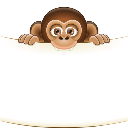 sorted: Cute cartoon monkey cub holding a blank sheet . All elements sorted and grouped in layers
