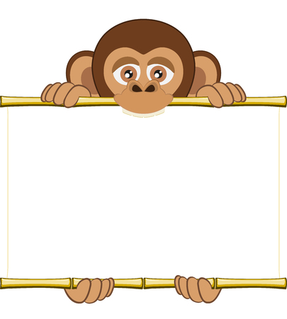 sorted: Cute cartoon chimpanzee cub holding a blank sheet . All elements sorted and grouped in layers