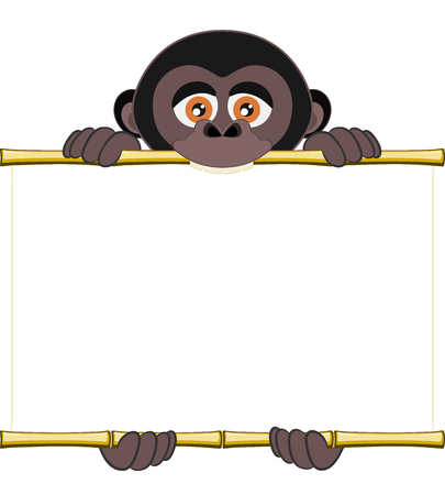 sorted: Cute gorilla cub holding a blank sheet . All elements sorted and grouped in layers