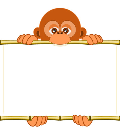 sorted: Cute cartoon orangutan cub holding a blank sheet . All elements sorted and grouped in layers