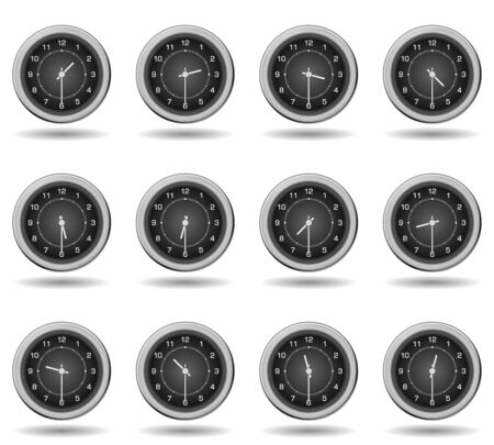 sorted: Set of black clocks for business hours isolated on white. Half past hours. All elements sorted and grouped in layers Illustration
