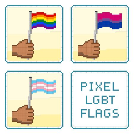 trans gender: Pixelized hands holding LGBT flags . All elements sorted and grouped in layers Illustration
