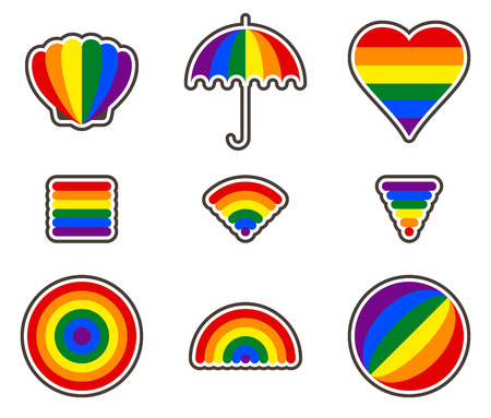 trans gender: Rainbow gay pride stickers . All elements sorted and grouped in layers