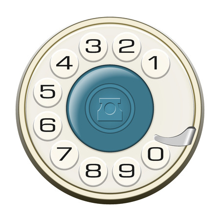 fixed line: Classic land line rotary dial isolated on white . All elements sorted and grouped in layers