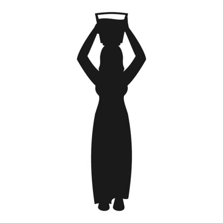 Silhouette of a woman carrying water isolated on white. All elements sorted and grouped in layers