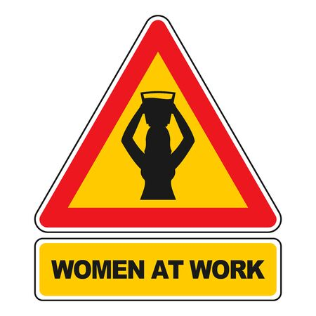 asiatic: Women at Work sign Women at work sign carrying water isolated on white. All elements sorted and grouped in layers