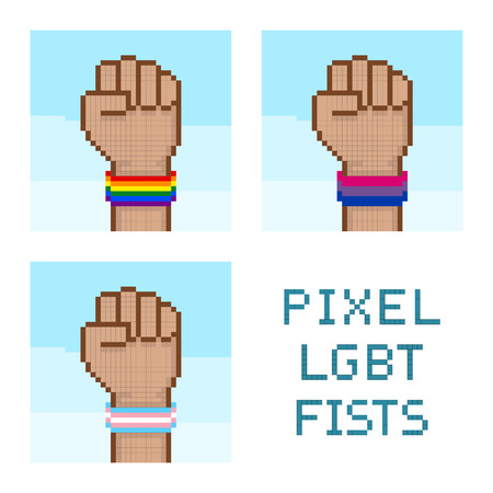 wristbands: Pixelated fists with LGBT wristbands. All elements sorted and grouped in layers Illustration