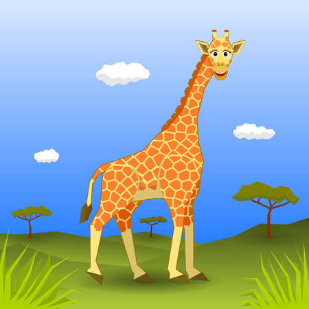 sorted: Smiling giraffe walking. All elements sorted and grouped in layers Illustration