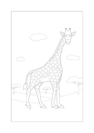 savannah: Smiling giraffe walking in savannah for coloring. A4 proportion ratio. All elements sorted and grouped in layers