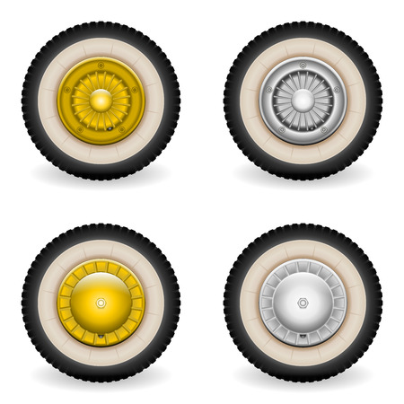 sorted: Classic wheels 2 models, 2 colors. ISolated on white. All elements sorted and grouped in layers