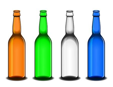 sorted: Set of four empty beer bottles: brown, green, white and blue. All elements sorted and grouped in layers Illustration