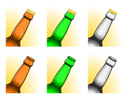 all caps: Set of six tilted beer bottle necks, with and without caps. All elements sorted and grouped in layers Illustration