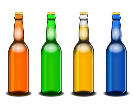 sorted: Set of four colorful beer bottles isolated on white: brown, green, white and blue. All elements sorted and grouped in layers