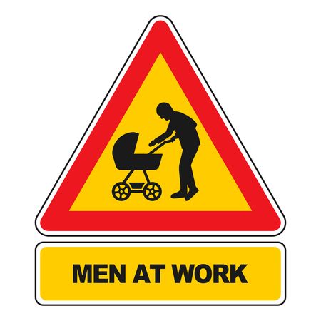 sorted: Men at Work sign isolated on white. All elements sorted and grouped in layers Illustration