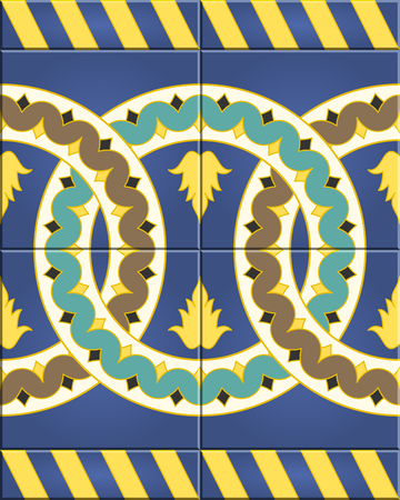sorted: Arabic tiles seamless pattern based on a design found in Seville, Spain. All elements sorted and grouped in layers Illustration