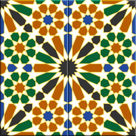 sorted: Arabic tiles seamless pattern based on a design found in Havana, Cuba. All elements sorted and grouped in layers