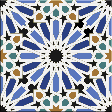 Arabic tiles seamless pattern based on a design found in Seville, Spain. All elements sorted and grouped in layers Ilustração