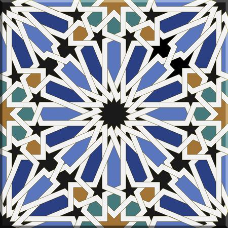 Arabische tegels naadloos patroon op basis van een ontwerp gevonden in Sevilla, Spanje. Alle elementen gesorteerd en gegroepeerd in lagen Stock Illustratie