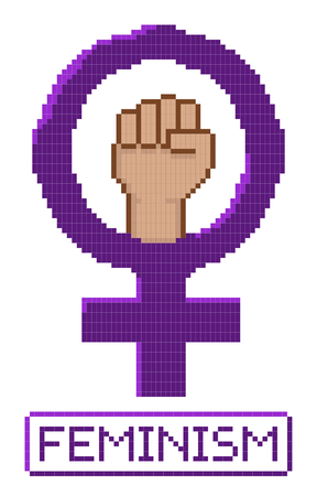 feminist: Pixelated feminist fist vector. All elements sorted and grouped in layers