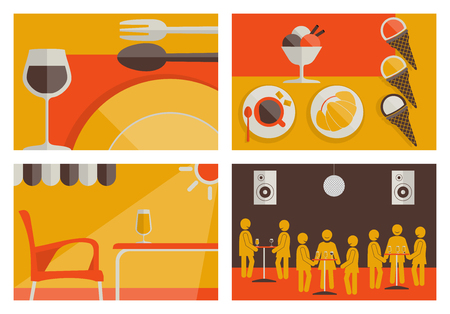 dance floor: Set of hostelry flat colored backgrounds vector. All elements sorted and grouped in layers