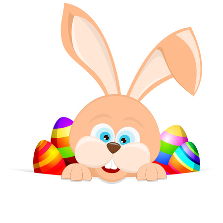 sorted: Cartoon easter rabbit background. Vector with all elements sorted and grouped in layers