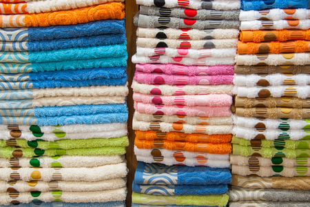 Background texture of some towels stacked in a fabric store