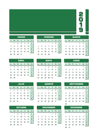 2019 Calendar in Spanish with space to add image or text. Vector design with all the elements conveniently grouped and organized for a simple edition.
