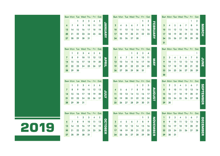 Green 2019 English calendar. Vector illustration with blank space for your contents. All elements sorted and grouped in layers for easy edition. Printable landscape version