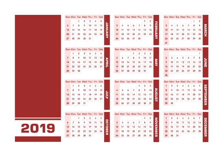 Red 2019 English calendar. Vector illustration with blank space for your contents. All elements sorted and grouped in layers for easy edition. Printable landscape version Ilustração
