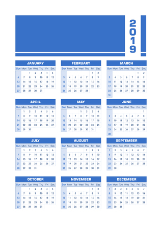 Blue 2019 English calendar. Vector illustration with blank space for your contents. All elements sorted and grouped in layers for easy edition. Printable portrait version