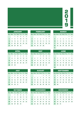 Green 2019 English calendar. Vector illustration with blank space for your contents. All elements sorted and grouped in layers for easy edition. Printable portrait version