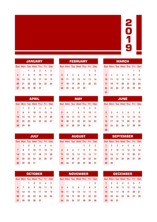 Red 2019 English calendar. Vector illustration with blank space for your contents. All elements sorted and grouped in layers for easy edition. Printable portrait version