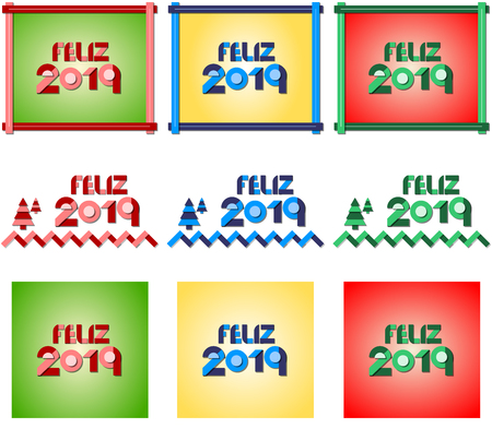 Happy new year 2019. Vector illustration in three colors and three different designs. Ilustração