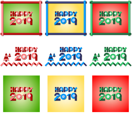 Happy 2019. Vector illustration of new year greetings. Three colors, three different designs. Ilustração