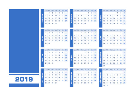 Blue 2019 French calendar. Vector illustration with blank space for your contents. All elements sorted and grouped in layers for easy edition. Printable landscape version