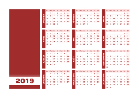 Red 2019 French calendar. Vector illustration with blank space for your contents. All elements sorted and grouped in layers for easy edition. Printable landscape version Ilustração