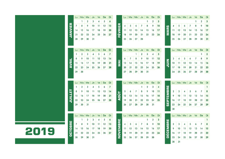 Green 2019 French calendar. Vector illustration with blank space for your contents. All elements sorted and grouped in layers for easy edition. Printable landscape version Stock Illustratie