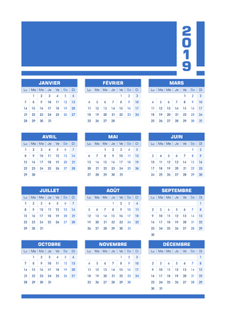 Blue 2019 French calendar. Vector illustration with blank space for your contents. All elements sorted and grouped in layers for easy edition. Printable portrait version