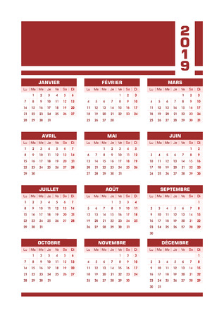 Red 2019 French calendar. Vector illustration with blank space for your contents. All elements sorted and grouped in layers for easy edition. Printable portrait version