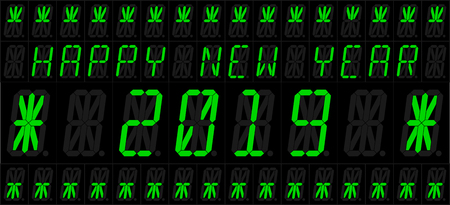 Happy New Year 2019. Vector illustration of an electronic 16 elements LED display with new year greetings. English version. All elements groupped and sorted in layers for easy editing.