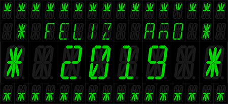 Happy year 2019. Vector illustration of an electronic 16 elements LED display with new year greetings. Spanish version. All elements grouped and sorted in layers for easy editing.