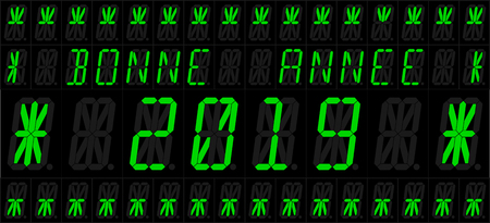 Bonne Ann? ? e 2019. Vector illustration of an electronic 16 elements LED display with new year greetings. French version. All elements grouped and sorted in layers for easy editing. Ilustração