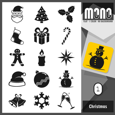 Christmas Flat Icon set. Mono collection. 15 flat transparent icons. All elements sorted and grouped in layers for easy editing
